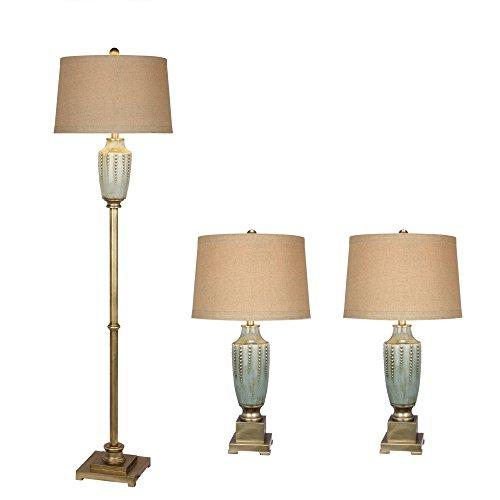 UPC 083086083648, Fangio Lighting 8873 Transitional Ceramic Lamp Set, Antique Gold and Blue Crackle, 3-Piece