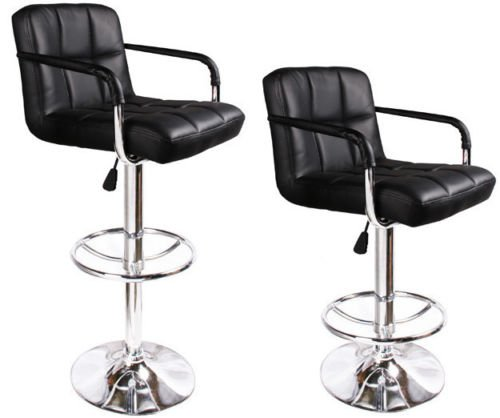 2 Black Bar Stools Leather Modern Hydraulic Swivel Pub Chair Barstool w/ Armrest