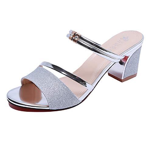 Women Snadals, FAPIZI Ladies Mid Heel Block Sandals Sequins Summer Flip Flop Elegant Party Evening Wedding Shoes Silver