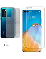 Huawei P40 Pro Polymer Nano Unbreakable screen protector having Camera hole with Carbon Fiber Back protective Film Full glue (2 in 1)