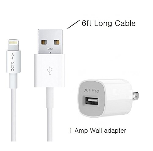 AJ Pro (TM) 6ft Extra long Extension White 8 Pin USB Sync Cable Power Cord with 1 Amp Wall charger for Apple iPhone 6S, 6, 6 Plus, 5S, 5C, 5 (compatible with iOS 9 and 9.1) [Certified] (Apple Power Cord Extension compare prices)