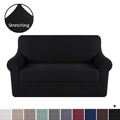 H.VERSAILTEX High Stretch 2 Piece Furniture Protector Sofa Cover for Loveseat, Love Seat Covers for Loveseat Durable Spandex Stretch Fabric Super Soft Slipcover- Black, 2 Seater Loveseat