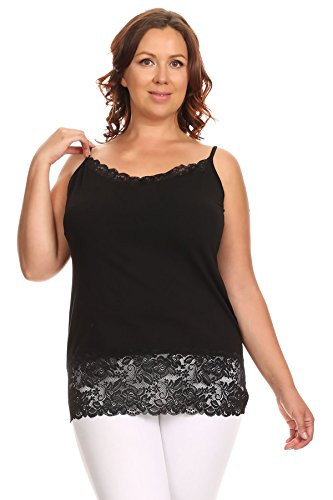 Ambiance Apparel Plus Size Women Jersey Cami Top with Lace Trim V-Neck Adjustable Spaghetti Straps (XX-Large, Black) -