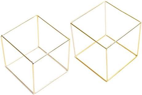 2ピース 幾何学 立方体 中空 金属製フレーム ジュエリー アクセサリー ディスプレイホルダー