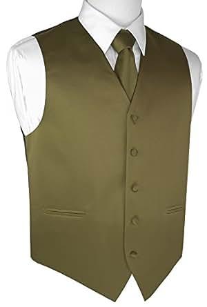 Brand Q Men's Tuxedo Vest, Tie & Pocket Square Set-Olive-XS