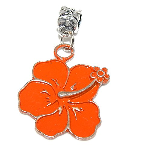 GemStorm Silver Plated Dangling Orange Hawaiian Flower For European Snake Chain ()
