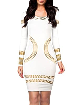 Miusol Women's Cut out Long Sleeves Kim Egypt Gold Foil Print Cocktail Dress