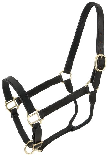 (Tough 1 Royal King Leather Stable Halter, Black)