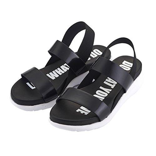 MINIRAH! Sandalias Abiertas Para Mujeres Zapatos Ligeros de Verano Sandalias de Cuña con Estilo de Punta Abierta Confort Moda Negro