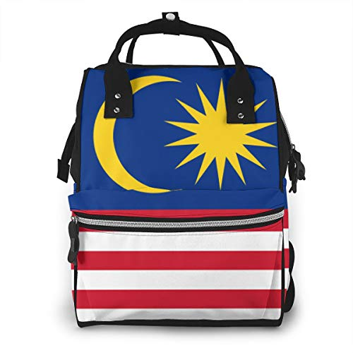 Flag of Malaysia Baby Diaper Bag Waterproof Printed Backpack, Personalized Design, Rugged, Large Capacity, Stylish, Can Be Used As Travel Backpack, Laptop Backpack