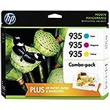 HP 935 Cyan, Magenta & Yellow Original Ink Cartridges with Photo Paper, 3 pack (F6U03FN)