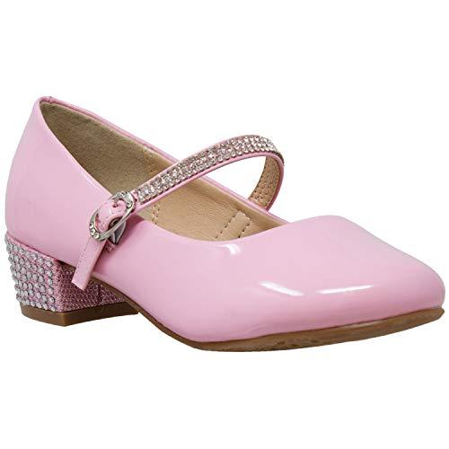 (Kids Dress Shoes Rhinestone Ankle Strap Mary Jane Pumps Pink SZ 2)