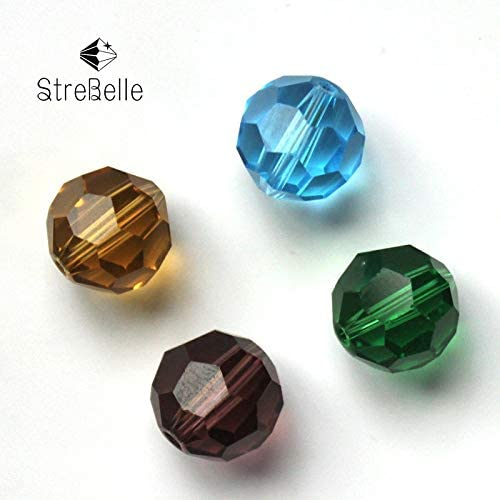 Pukido DIY Jewelry Bead 10mm Football Style Wonderful Color Crystal Glass Bead AAA Color: Amber, Item Diameter: 10mm