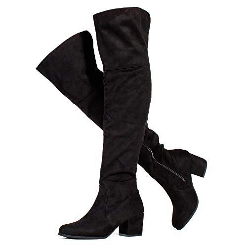 RF ROOM OF FASHION Low Block Heel Pullon Over The Knee Boots (Medium Calf) Black SU (6)