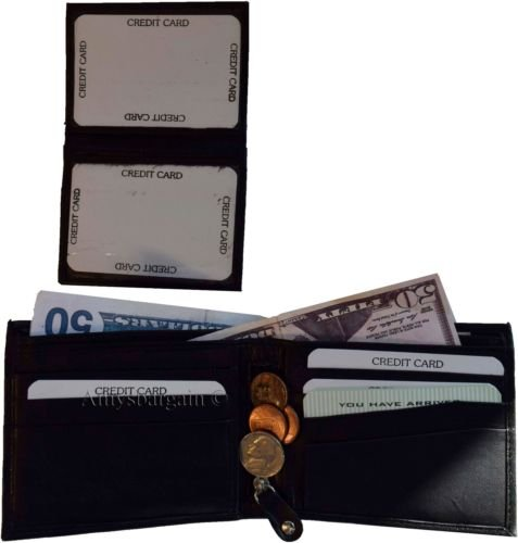 Man's High Black New Leather Card Credit 10 Spaces BNWT Black Billfold Man's 3 end Wallet BYwfZ