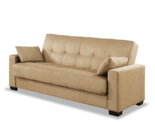 Amazon.com: Pearington Mia Microfiber Sofa Sleeper Bed U0026 Lounger With  Storage, Khaki: Kitchen U0026 Dining