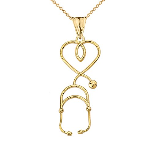 Fine 14k Yellow Gold Heart-Shaped Stethoscope Pendant Necklace, 18