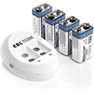 EBL 4-Pack 9V Batteries Li-ion 9 Volt Rechargeable Batteries with 4-Slot 840 9V Battery Charger