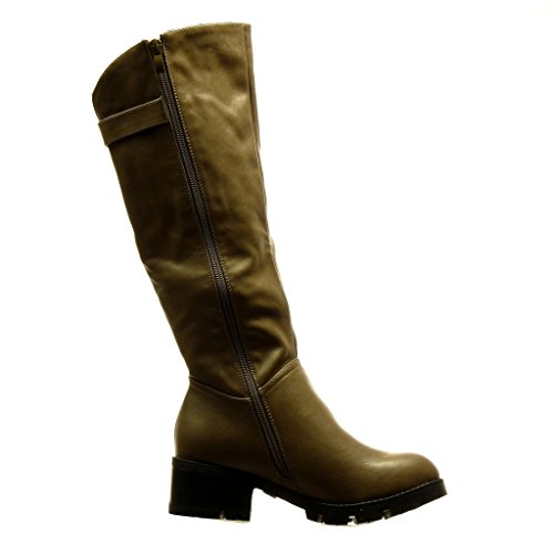 Women's CM metallic high Shoes buckle Boots Grey Block biker heel 5 cavalier Fashion Angkorly 7wgdqZ7
