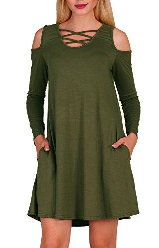 Aierbulu Robes Tshirt Femmes Au Large Épaule Longue Vert Armée Tenue Décontractée Cou Croix Manches