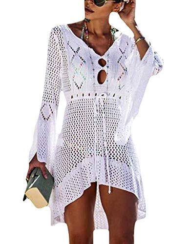 FaroDor Women Sexy Flare Sleeve Swimsuit Cover Up Crochet Hollow Out Bathing Suit Beach Dress White