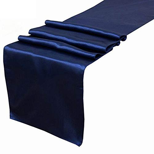 OHogar Navy Blue Satin Table Runners Packs of 10 12×108 inches Table Runner for Party,Wedding,Banquet,Birthday,Decoration,Reception,Event,Shower,Silk&Smooth Seam Edges Fabric Fit Long,Round Tables]()