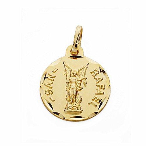 Médaille pendentif San Rafael de l'or 16mm 18k. sculpté sculptée [AA2546]