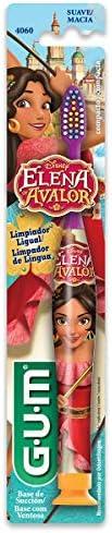 Escova Dental Infantil GUM Elena de Avalor, cerdas macias e limpador de língua, Gum, Sortidas