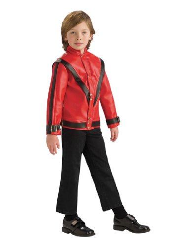 Michael Jackson Child's Deluxe Red Thriller Jacket Costume Accessory, (Red Leather Jacket Halloween Costume)