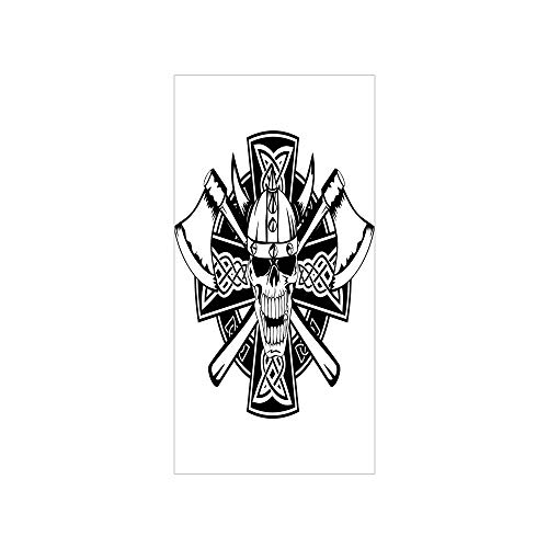 - 3D Decorative Film Privacy Window Film No Glue,Celtic,Celtic Skull Knight with Cross Axes and Knives Medieval Europe Iron Age Graphic,Black White,for Home&Office