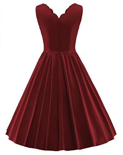 LaoZan Cuello en V Sin mangas Vintage Vestido de Rockabilly Swing Vestido de noche Vestido de Novia Para mujer Vino rojo