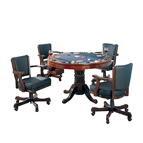 BOWERY HILL 5 Piece 3-in-1 Game Table Set in Cherry
