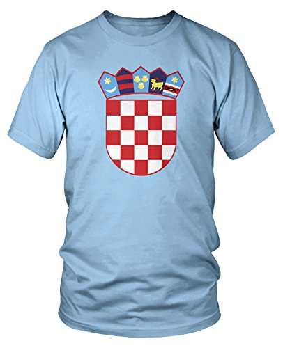 f Arms of Croatia, Croatian Arms T-shirt, Light Blue Large ()
