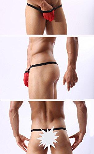 WINDAY Mens Underwear Thong G-String Elastic Smooth Bikini Lace Underwear