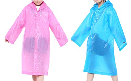 - CDOFFICE 2 Pack Children Rain Ponchos Portable Reusable Raincoats for 6-12 Years Old (Blue+Pink)