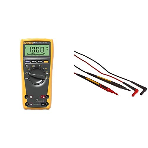 Fluke 179 ESFP True RMS Multimeter with Backlight and Temp & TL175E TwistGuard Double Insulated Silicone Test Lead Set with Removable 4mm Lantern Tips, 2mm Diameter Probe Tips