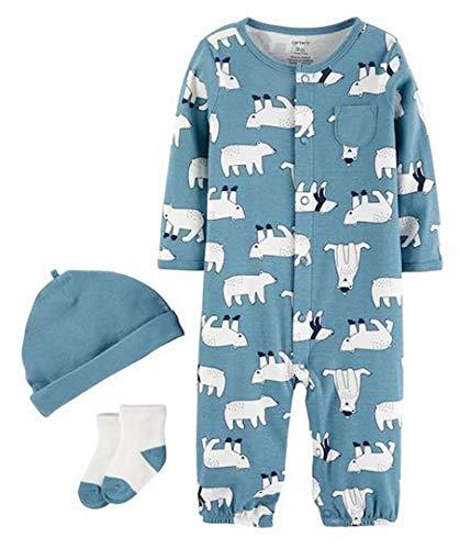 Gown Set Convertible (Carter's Baby Boys 3-Pc. Polar Bear-Print Hat, Convertible Coverall & Socks Set (3 Months) Blue)