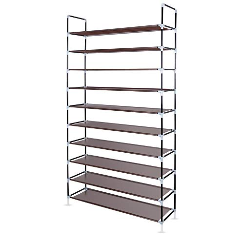 Awenia 10 Tiers Adjustable Shoe Rack Organizer Storage Shelf For 50 Pairs Shoes With Spare parts,DIY Assembly by Awenia