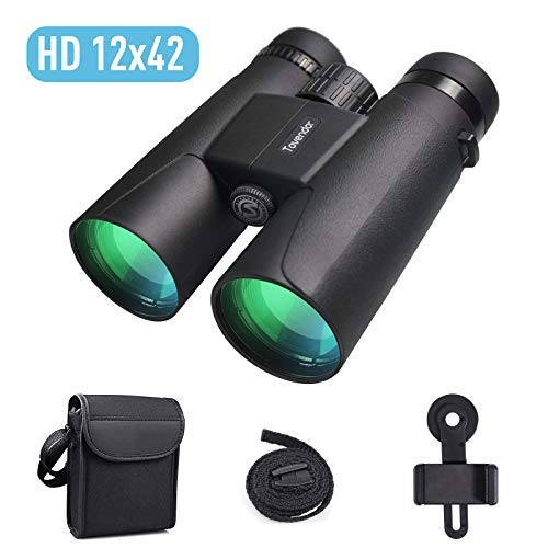 Compact Binoculars, Tovendor 12x42 Binoculars for Adults with Weak Light Vision for Hunting, Bird Watching, Theater, Concerts, Hiking - BAK4 Prism FMC Lens with Phone Mount Strap Carrying Bag