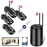 Wireless Security Camera System HD 1080p WiFi NVR 4 IP Cameras with Hard Disc 1TB Indoor Outdoor Home Security System with Night Vision [Unique Cylindrical NVR Design Only by Anran]