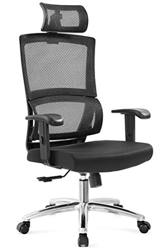 Ticova Ergonomic Office Chair with Unique Elastic Ring Lumbar Support and Thick Seat Cushion- High Back Mesh Chair with Adjustable Headrest and Armrest – Reclinable Computer Desk Chair