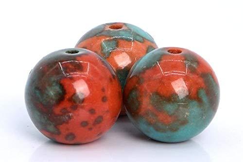 19 Pcs - 10MM Orange & Blue Rain Flower Jade Beads Grade AAA Round Gemstone Loose Beads ()