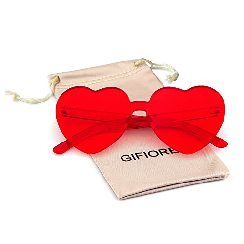 Heart Shape Rimless Sunglasses One Piece Transparent Candy Color Eyewear (Red, 64) -