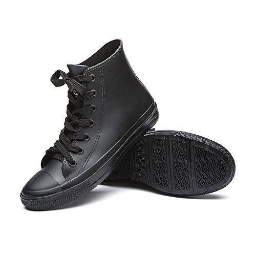 KICKIC KWG01 Lace Shoes Women's Rubber Anti Boots Ankle Colors Short Black Waterproof up Rain 8 Slip 4wqn64pXxr
