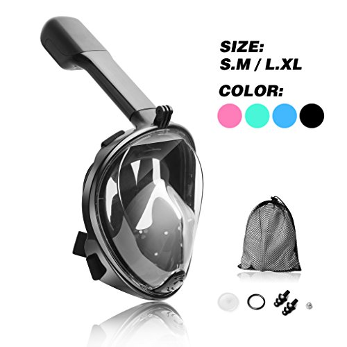 Jogoo Full Face Snorkel Mask, Seaview 180°,Full Face and anti-fog Design For Snorkeling,GoPro Compatible,longer Snorkeling Tube,See More With Larger Viewing Area Than Traditional Masks.Black S/M