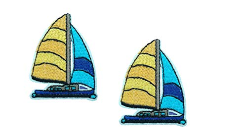2 Pieces Boat Iron On Patch Embroidered Nautical Sailboat Ship Motif Navy Nautical Applique Scrapbooking Decal 1.97 x 1.57 inches (5 x 4 cm)