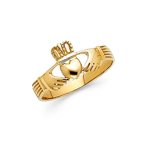 Wellingsale Ladies Solid 14k Yellow Gold Polished Friendship and Love Irish Claddagh Right Hand Fashion Ring - Size 8.5