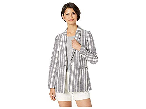 cupcakes and cashmere Women's Maestro Striped Linen Blend Boyfriend Blazer, Ink, 0