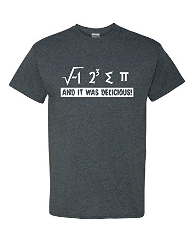 I Ate Some Pie and It was Delicious Pi Funny Math 3.14 Adult Mens Graphic Tee Humor Pun T-Shirt Heather Grey (Large) ()