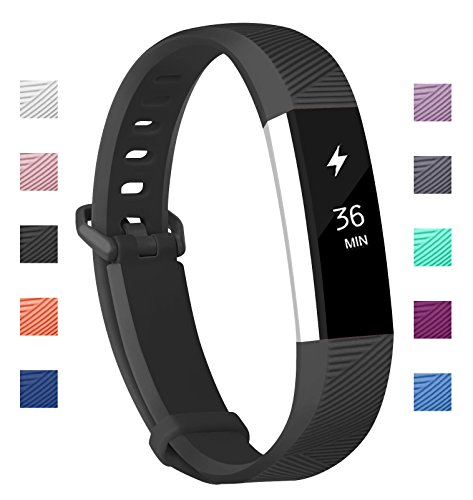 Fundro Fitbit Alta Bands, Soft Silicone Replacement Classic Bands Available in Varied Colors with Secure Buckle for Fitbit Alta HR and Fitbit Alta (C# 1-Pack Black, Small (6.2-7.1))